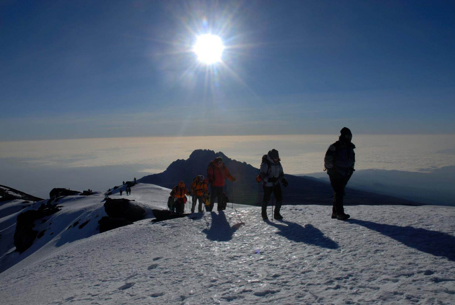 Traversing the crater rim on Kilimanjaro