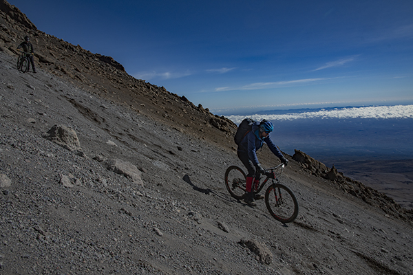 MTB navigating the flanks of Kilimanjaro