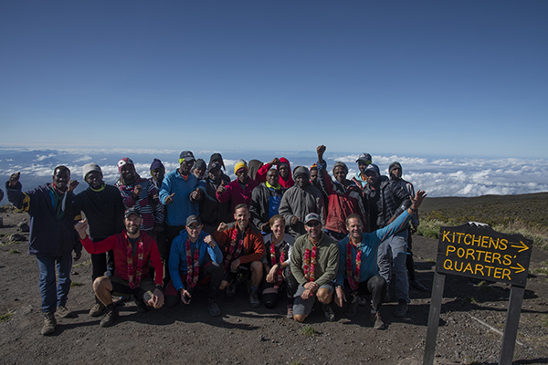 Kilimanjaro MTB team photo at Horombo Hut